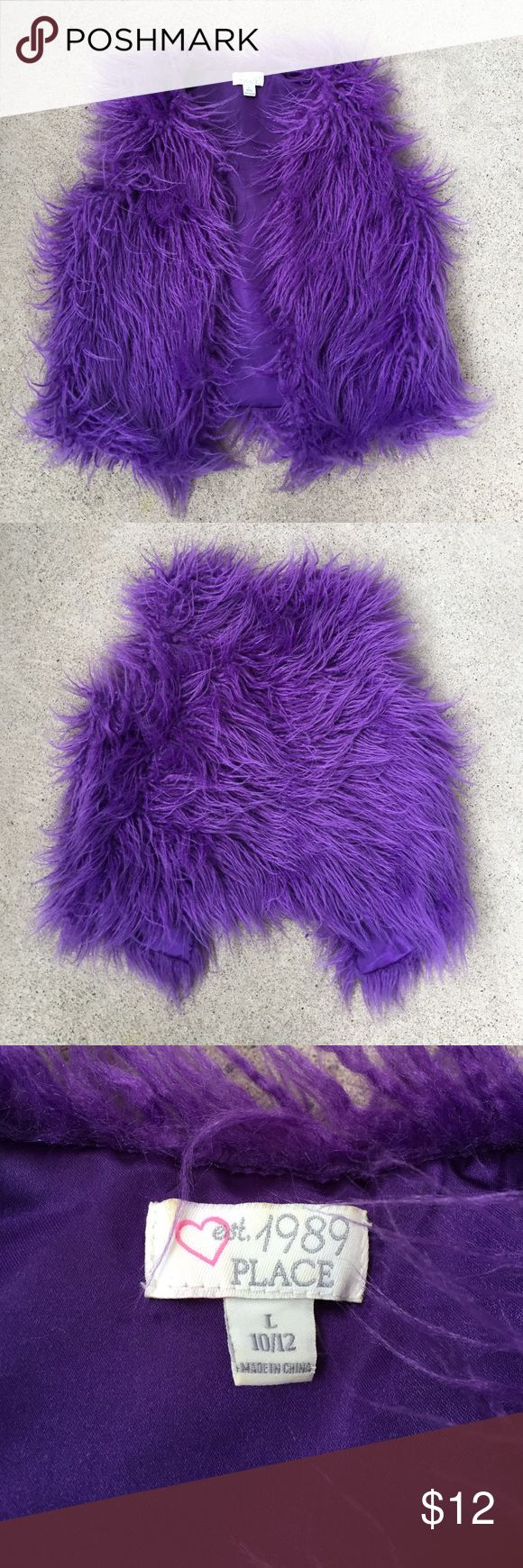 Children's Place Furry Purple Vest In nice condition for a used item, fun furry purple vest! Children's Place Jackets & Coats Vests