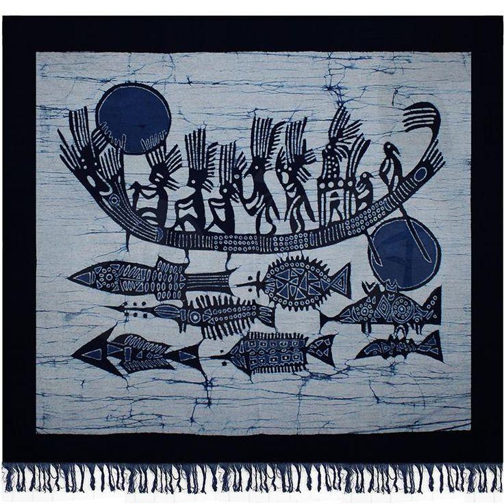苗族蜡染工艺品手工蜡染画壁挂蜡染装饰画 羽人打渔(蓝白)85x90cm-淘宝网