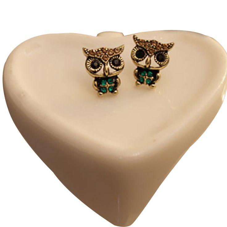 2016 new European and American fashion jewelry fashion style rhinestone lovely Cute retro owl earrings orecchini donna