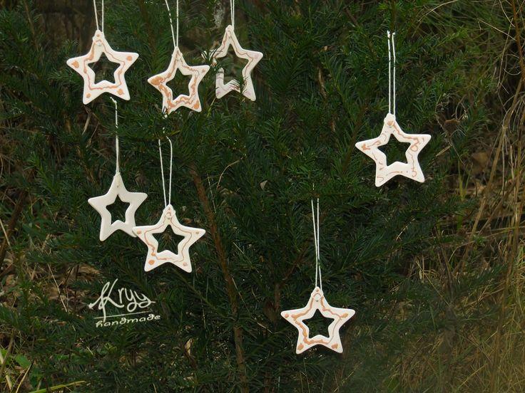 Ágota (my 5 years old daughter) clay christmas stars Ágota (5 éves lányom) kerámia karácsonyi csillagai