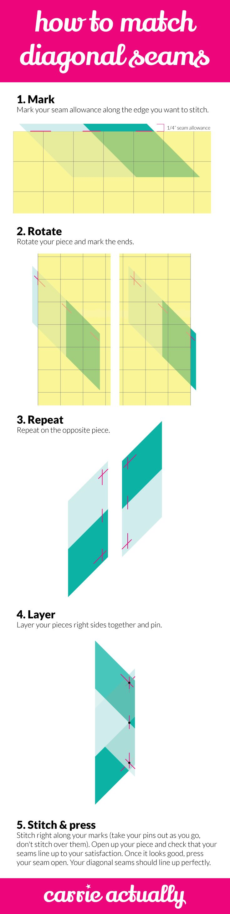 How to Match Diagonal Seams When Piecing Your Quilt | quilting, quilt, technique, skill builder, skill building