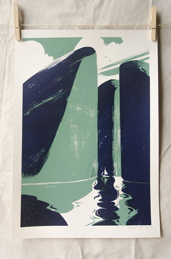 Beluga Cliffs - hand pulled screenprint poster from WaffleFin #etsy