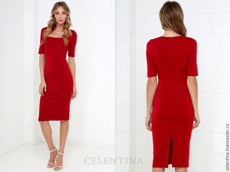 Купить Платье футляр, красное платье офисное платье, повседневное платье миди - платье футляр