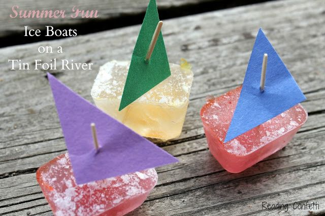 Easy and frugal summer fun: Make mini ice boats and float them on a homemade tuff spot river