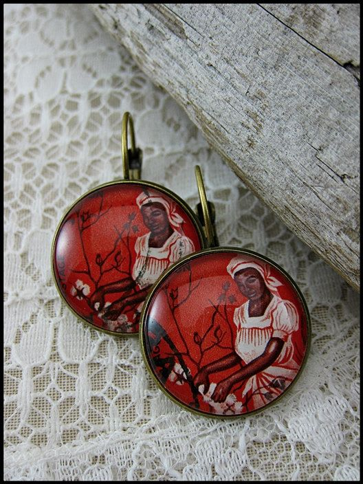 Postage Stamp Earrings / Cotton Woman / Zambia c. by OhThePost