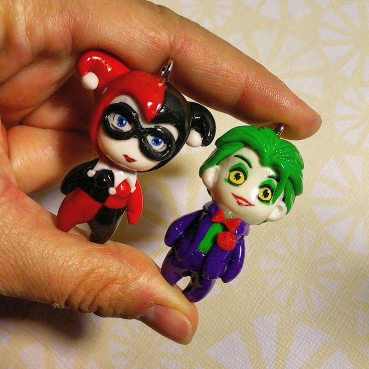 Polymer clay chibi Harley Quinn and Joker charms. Custom order.  What do you…