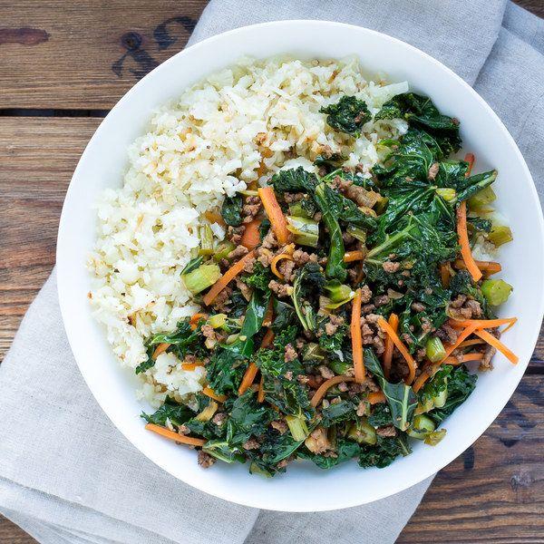 Ground Beef, Kale & Carrot Stir Fry with Cauliflower Rice