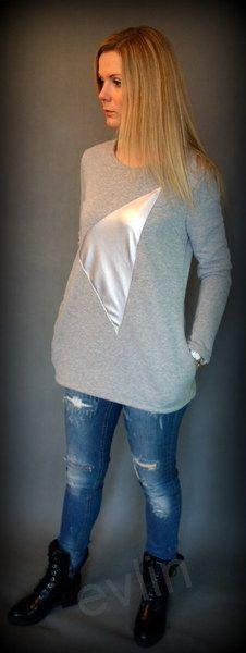 Bluza dresowa z kieszeniami z naszytym trójkątem  w evlin na DaWanda.com