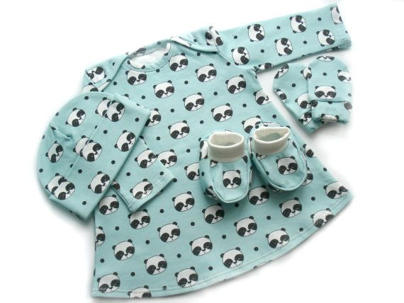 READY TO SHIP Organic cotton Clothing Set 0-3 months : Hat + Booties+ Mittens + Dress