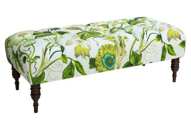 Stanton Tufted Bench, Tropical Floral