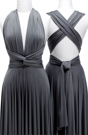 "What do you think of a ""convertible"" dress? Each bridesmaid could wear it differently..."