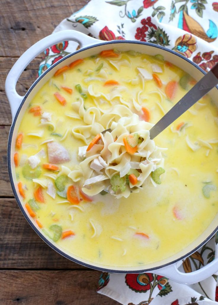 Make the most of your leftovers with this Creamy Turkey Noodle Soup - get the recipe at barefeetinthekitchen.com
