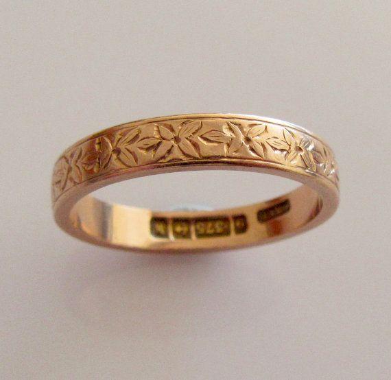 9ct Rose Gold Engraved Wedding Ring Band by Britishgoldandsilver