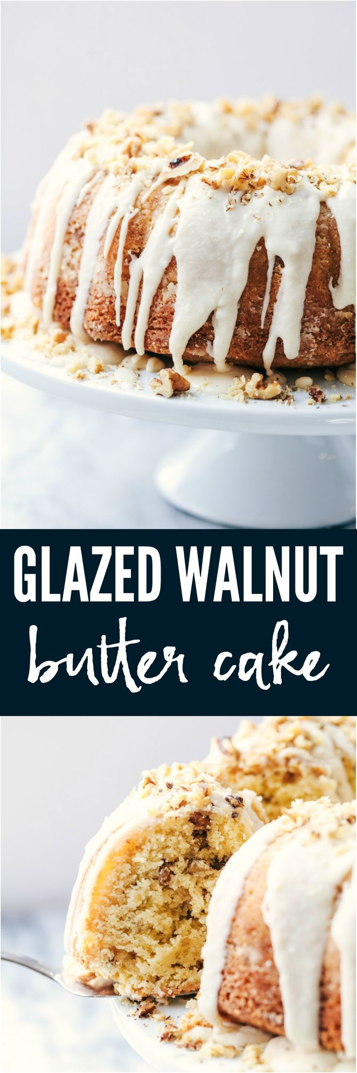 Glazed Walnut Butter Cake is a perfectly moist and tender buttery cake filled with walnuts and made with ingredients you already have on hand. This cake gets a delicious glaze and is topped with chopped walnuts and will become a new favorite!