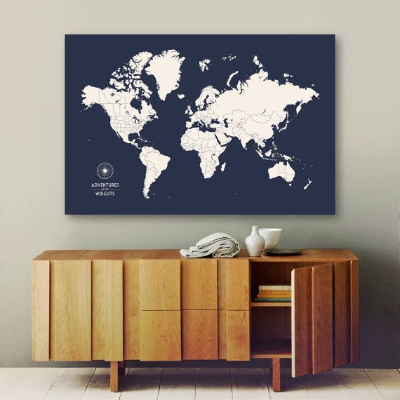 The 25 best push pin world map ideas on pinterest push pin push pin travel map push pin world map pin map by canvastravelmaps gumiabroncs Images