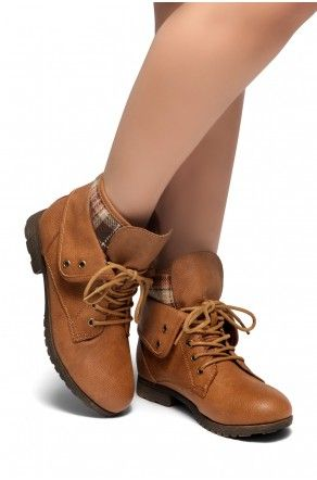 a3cfdddd8ac04b HerStyle SLGABRIANNA-Lace up Plaid Fold down Combat Booties (Tan ...