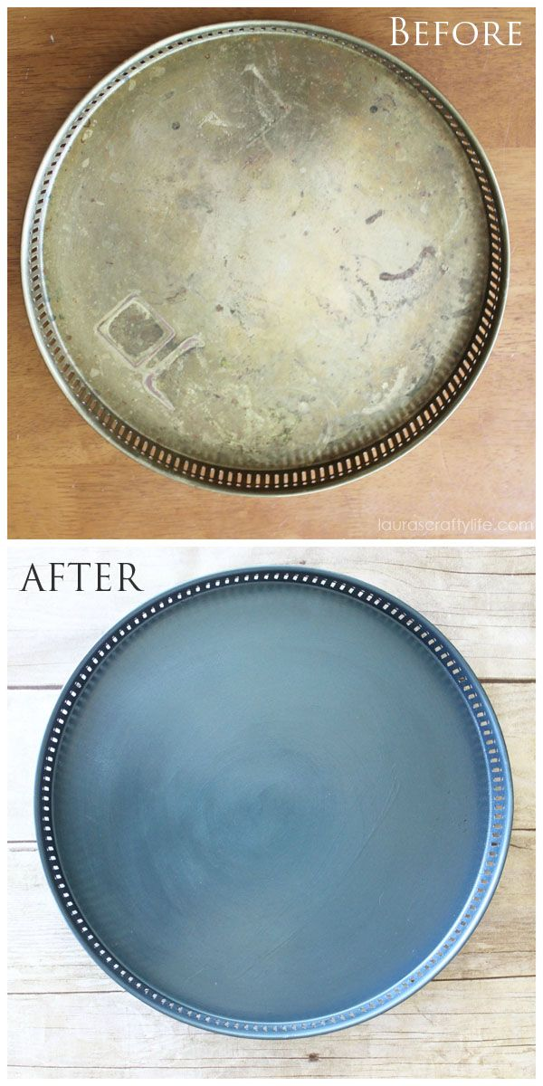 Painted Tray before and after Modern Masters Metallic Paint   Laura's Crafty Life