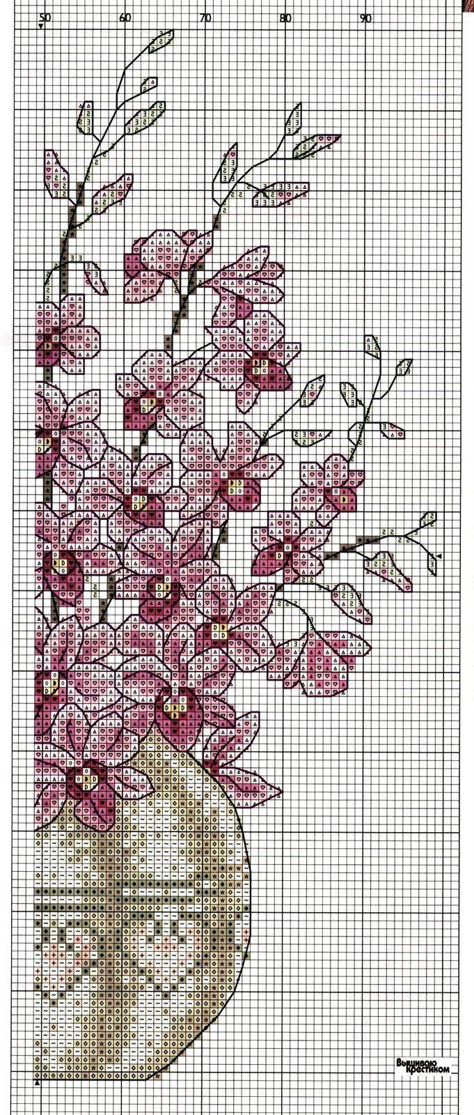 Cross-stitch Beautiful Flowers, part 4... color chart on part 2... Sandrinha Ponto Cruz