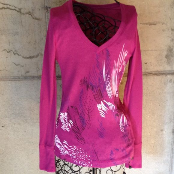 "**HP**Nollie Purple long sleeve top with design Lightweight long sleeve purple shirt. Has v neck and design on front. Very gently worn. Length is 24"". Across front is 13 1/4"". Nollie Tops Tees - Long Sleeve"