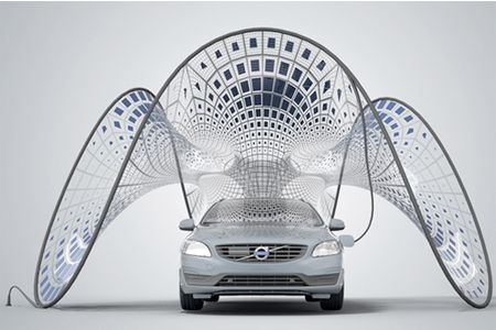Collapsible car charging solar pavilion designed by Volvo - See more at: http://www.mysolarquotes.co.nz/blog/future-of-solar-power/the-coolest-solar-power-car-charging-station-designs