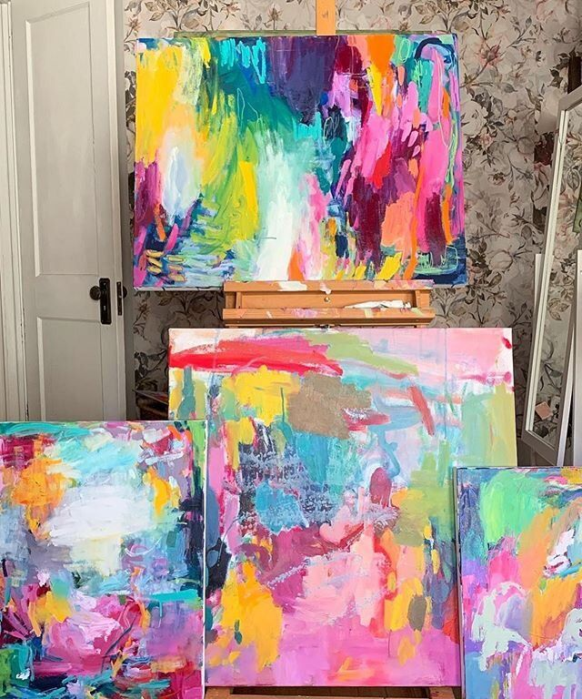 How To Make Your Acrylics Look Like Oils Amira Rahim Diy Art Painting Bright Abstract Art Colorful Abstract Painting