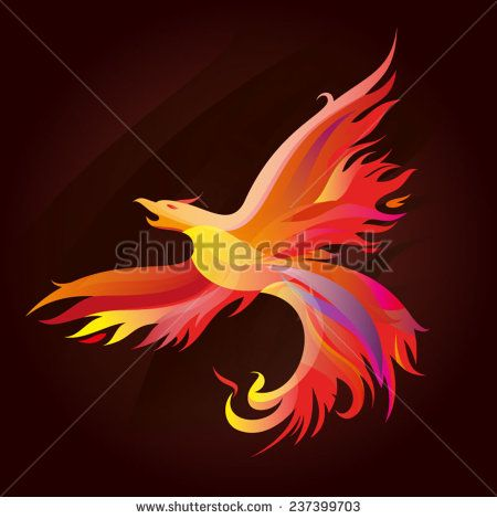 Fiery Phoenix. Illustration of abstract forms collected