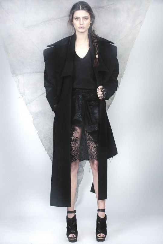 #ALMAZ Black Duality Coat /// Contrast Lace Dress with Sleeves
