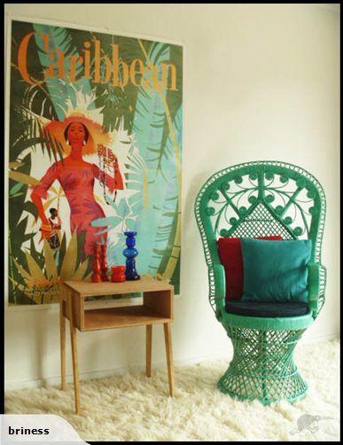 Pea Chair Green Cane Tropical Decortropical
