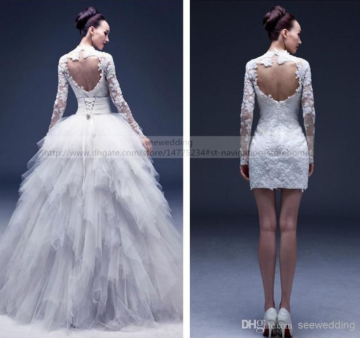 Free shipping, $188.49/Piece:buy wholesale Multi-way Detachable Wedding Dresses Lace Appliques High Collar Cut Out Open Back Long Sleeve Wedding Gowns with Removable Ruffled Skirt from DHgate.com,get worldwide delivery and buyer protection service.