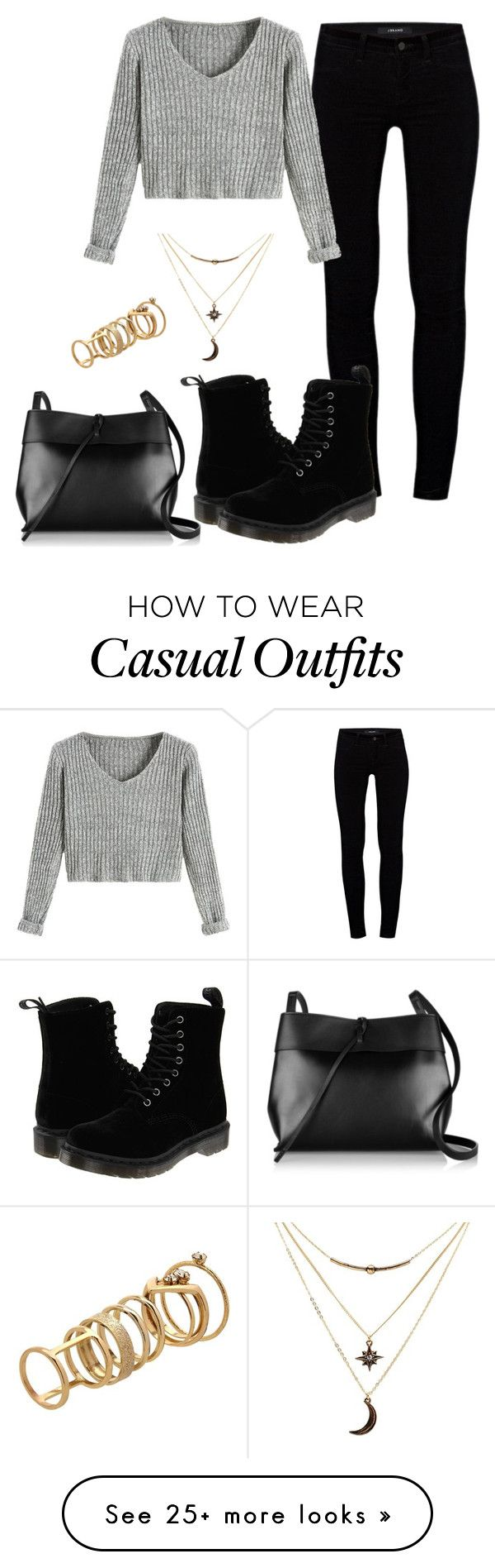 """Casual"" by nikke9doors on Polyvore featuring J Brand, Dr. Martens, Kara, Charlotte Russe and Lipsy"