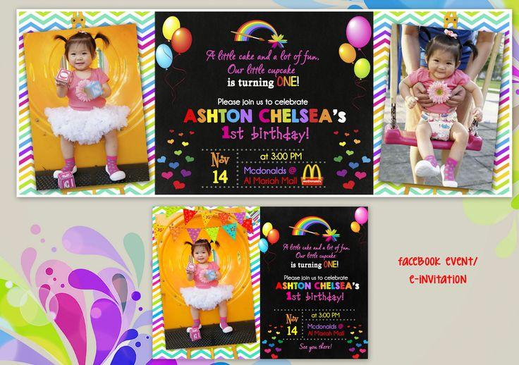 1st Birthday Party (Art Rainbow Party Theme)  Invitation