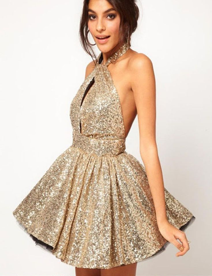 Sexy Halter Backless Gold Sequined Short Homecoming Cocktail Dress with Key Hole
