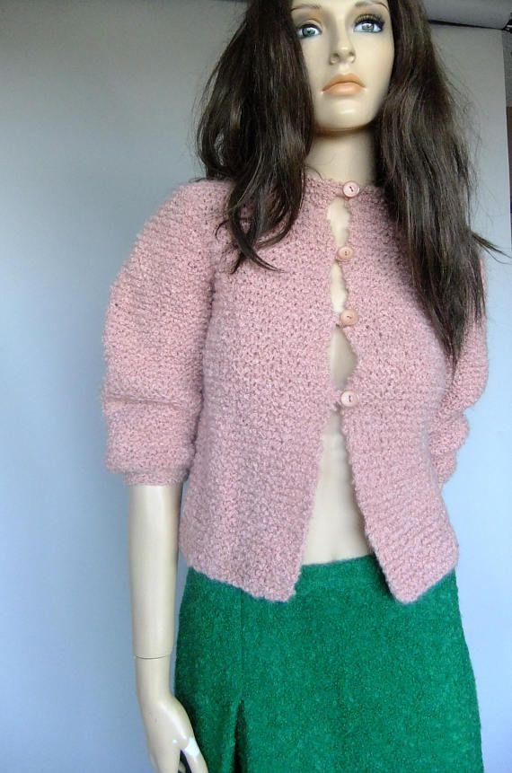 womens sweater boucle wool cardigan pink hand knit size xs