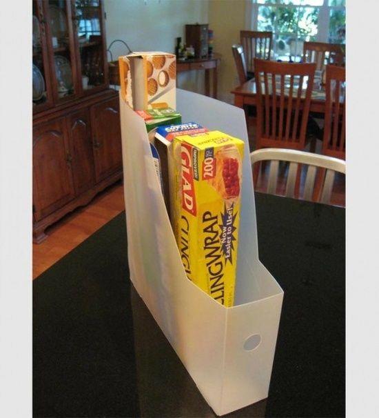 Magazine rack to organize plastic wraps Glamumous!