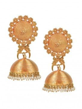 Pakshi Temple Rose-Gold Jhumka Earrings