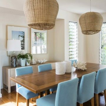 Sunshine Beach Holiday Rentals | Interior Designers in Australia Teal dining chairs, wicker pendant lights