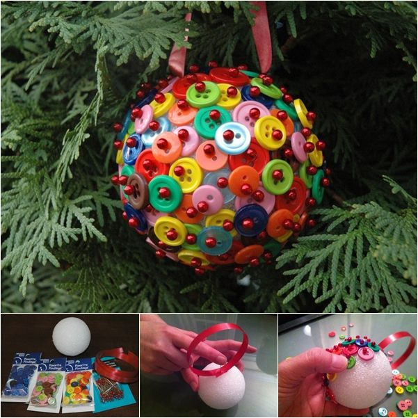 This Button Christmas Ornament is really button cute! And very easy to make that kids can help.  Check out--> http://bit.ly/1vkFImL