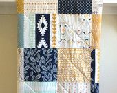 Baby Quilt Boy - Wanderer - Patchwork - Dark Navy, White, Mustard, Dusty Blue, Tribal, Southwestern, Toddler Quilt, Minky or Flannel Back