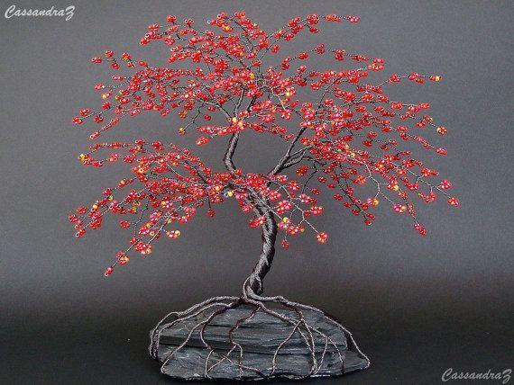 """Red Cherry Blossom Beaded Bonsai Wire Tree Sculpture 8"""" - MADE TO ORDER Custom"""