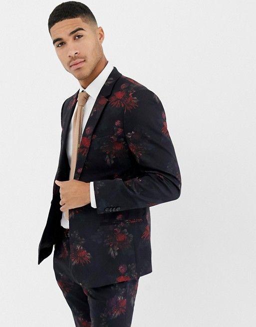 77139696fe82 River Island wedding skinny fit suit jacket in dark floral print in ...