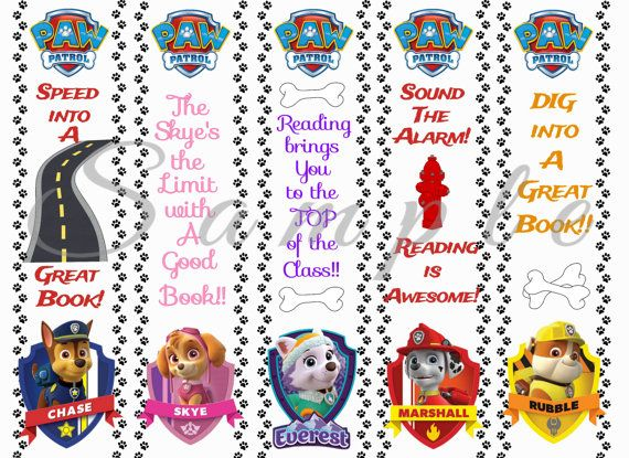 Paw Patrol Party Favor Bookmarks Digital Printable Instant Download Birthday Reading Library Book Kids Dog Cartoon PNG 300dpi