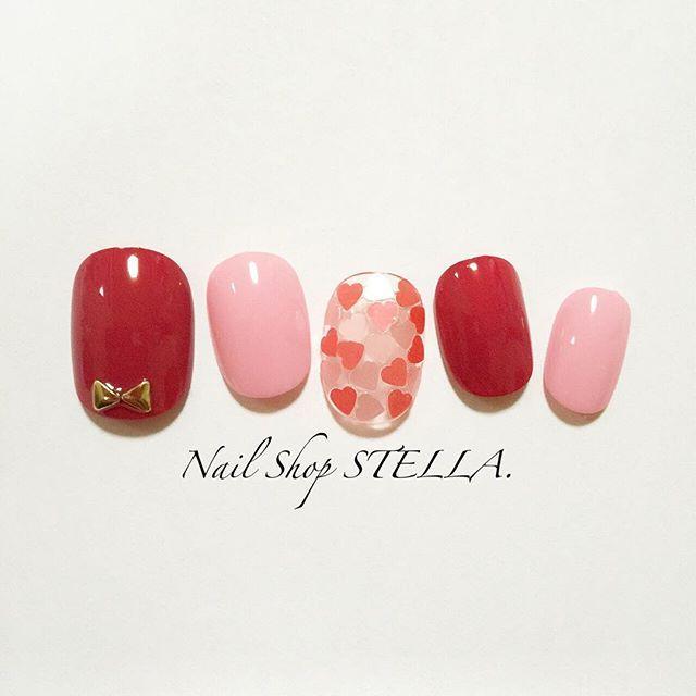 バレンタインデートにぴったり♡ハートモチーフのバレンタインネイルデザイン50選♡ | Jocee