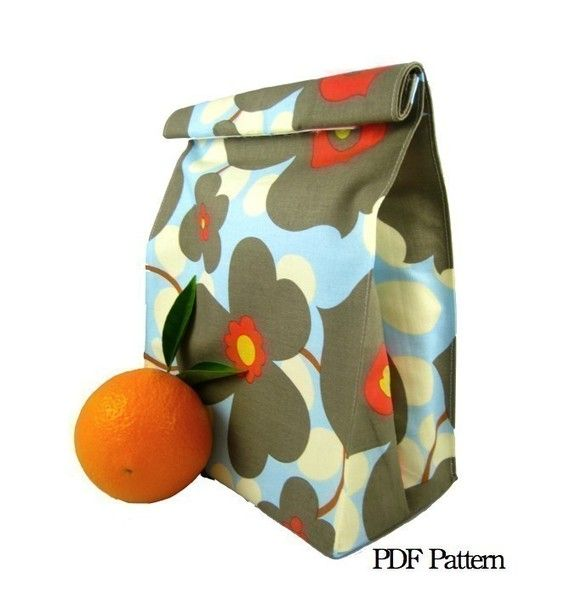 Folded LunchSleeve PDF Pattern: Lunches Bags, Brown Bags, Folding Lunchsleev, Lunches Sacks, Lunchsleev Pdf, Pdf Patterns, Bags Lunches, Agreensleev Lunches, Bags Pdf