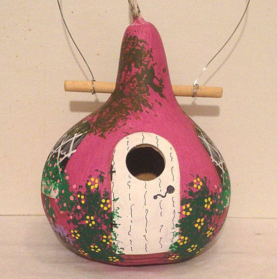 Raspberry and White Kettle Gourd Birdhouse by KaydeeCountryCottage