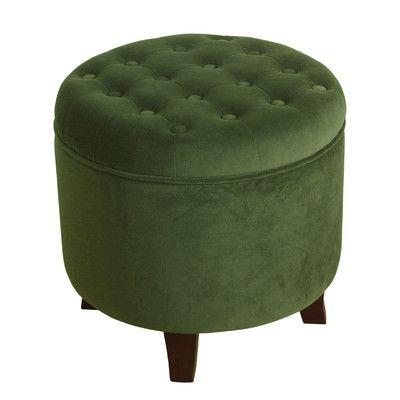 Alcott Hill Klingensmith Velvet Round Storage Ottoman Color: Forest Green - Best 25+ Round Storage Ottoman Ideas On Pinterest Ottoman With