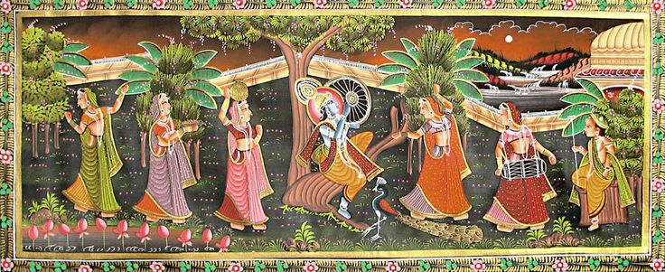 Krishna and Gopinis Dancing and Singing (Miniature Painting on Silk Cloth - Unframed)