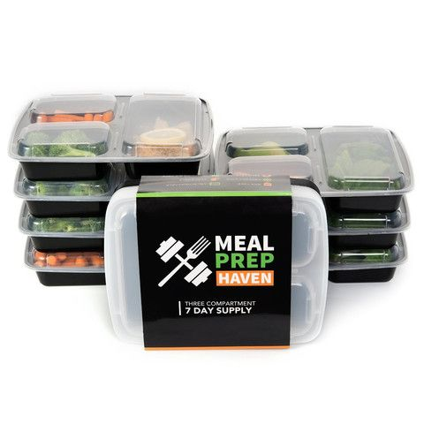 Meal Prep Haven 3-Compartment Food Containers with Lids for Portion Control, Stackable - Leak Proof, Microwave, Dishwasher Safe, Reusable / Bento Lunch Box with Plate Dividers (7 Pack) - KitchenRave - 1