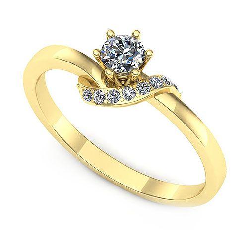 Inel logodna F75GDI * Piatra principala: 1 x diamant, dimensiune: ~3.40mm, greutate: 0.15ct , culoare: G, claritate: VS2 * Pietre secundare: 7 x diamant, dimensiune: ~1.10mm, greutate totala: ~0.04ct, forma: round * Gramaj: ~2.00gr