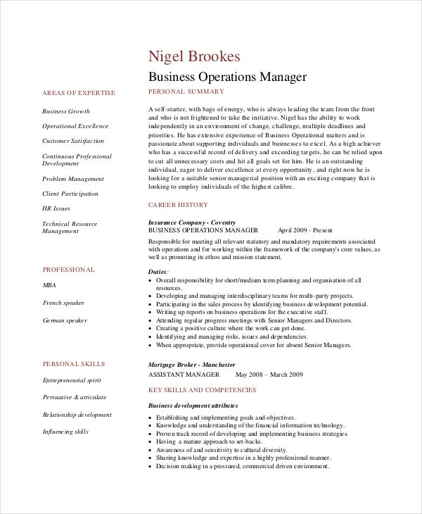 Business Operations Management Resume - The best expert's estimate