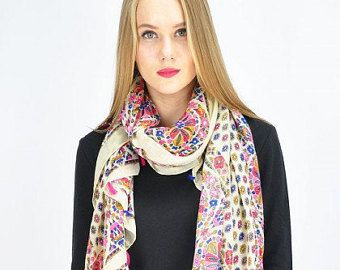 Geometric Beige Scarf / Summer Spring Scarf / Autumn Scarf / Scarves & Wraps / Womens Scarves / Gift for her / Fashion Accessories